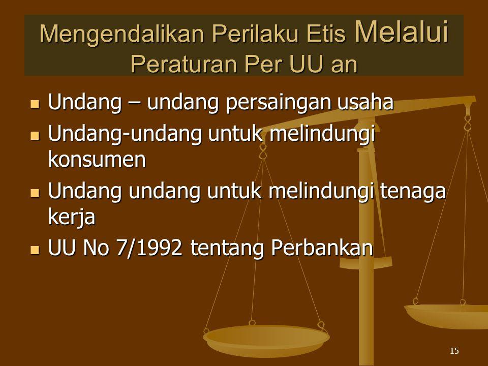 Mengendalikan Perilaku Etis Melalui Peraturan Per UU an