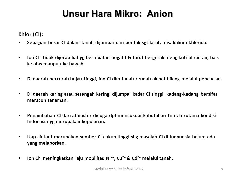 Unsur Hara Mikro: Anion