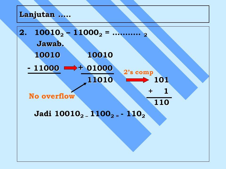 Lanjutan ….. 2. 100102 – 110002 = ……….. 2. Jawab. 10010 10010. - 11000 + 01000. 11010 101.