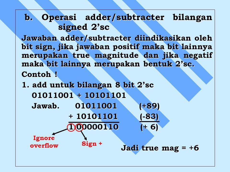 b. Operasi adder/subtracter bilangan signed 2'sc
