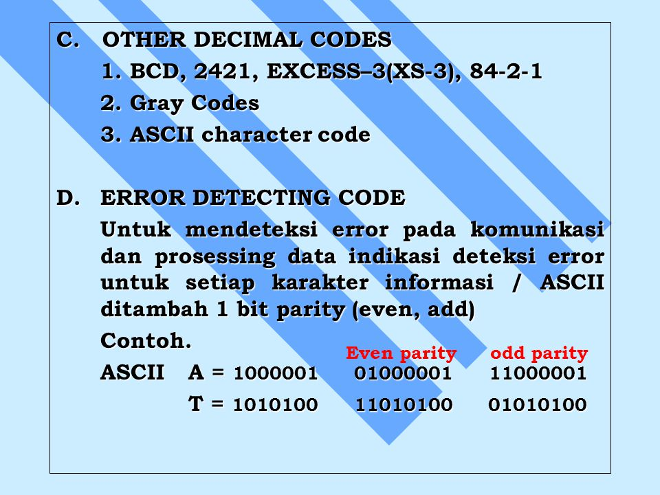 C. OTHER DECIMAL CODES 1. BCD, 2421, EXCESS–3(XS-3),
