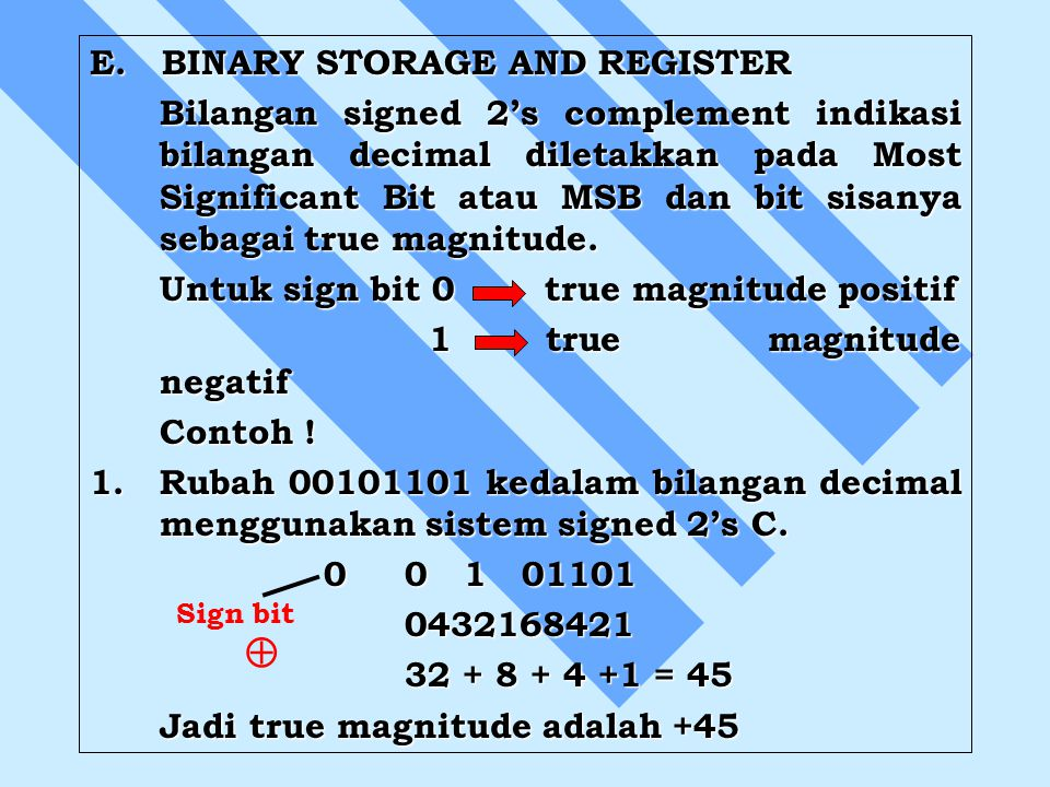  E. BINARY STORAGE AND REGISTER