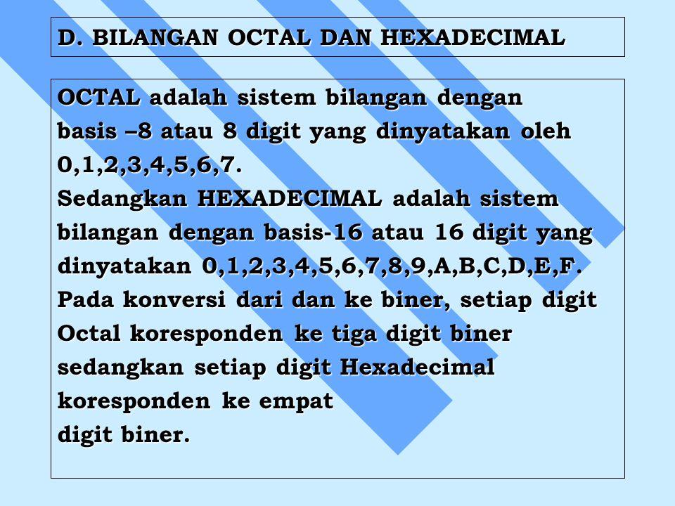 D. BILANGAN OCTAL DAN HEXADECIMAL