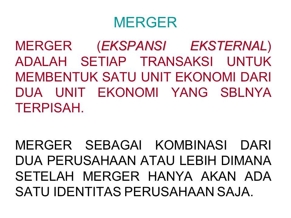MERGER MERGER (EKSPANSI EKSTERNAL) ADALAH SETIAP TRANSAKSI UNTUK MEMBENTUK SATU UNIT EKONOMI DARI DUA UNIT EKONOMI YANG SBLNYA TERPISAH.
