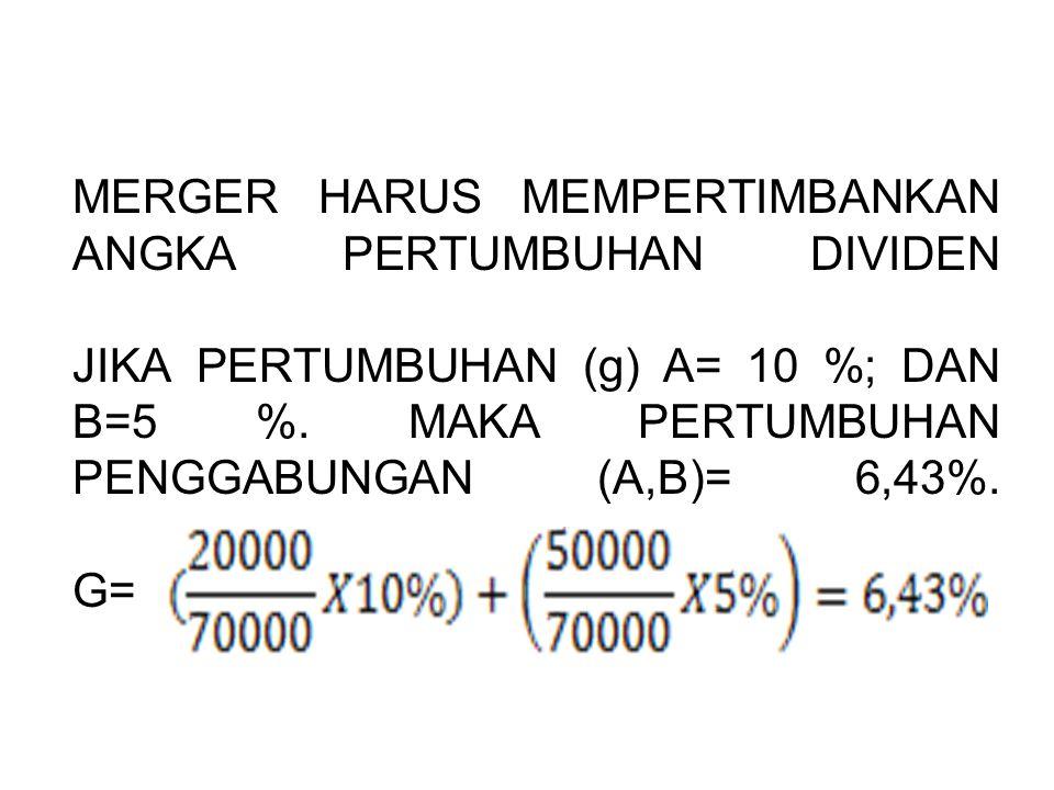 MERGER HARUS MEMPERTIMBANKAN ANGKA PERTUMBUHAN DIVIDEN JIKA PERTUMBUHAN (g) A= 10 %; DAN B=5 %.