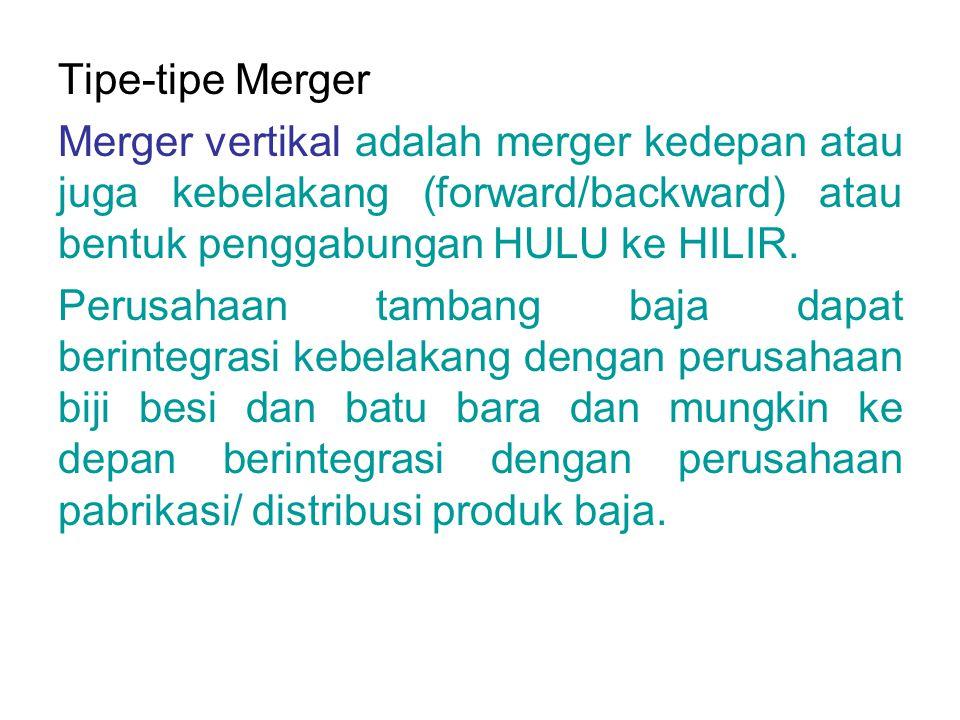 Tipe-tipe Merger Merger vertikal adalah merger kedepan atau juga kebelakang (forward/backward) atau bentuk penggabungan HULU ke HILIR.