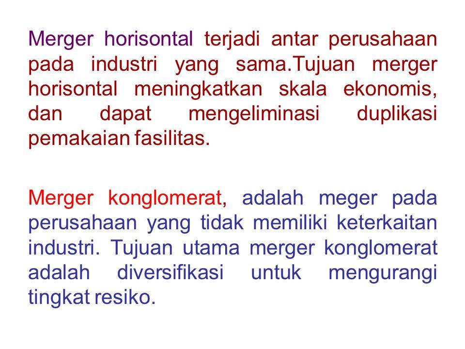 Merger horisontal terjadi antar perusahaan pada industri yang sama