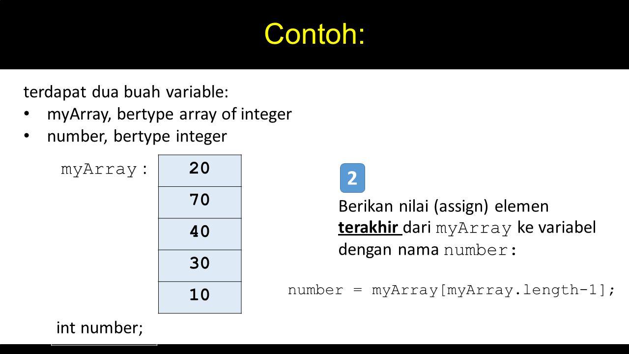 Contoh: 2 myArray : 20 terdapat dua buah variable:
