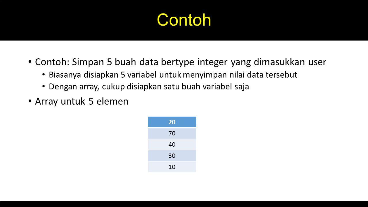 Contoh Contoh: Simpan 5 buah data bertype integer yang dimasukkan user