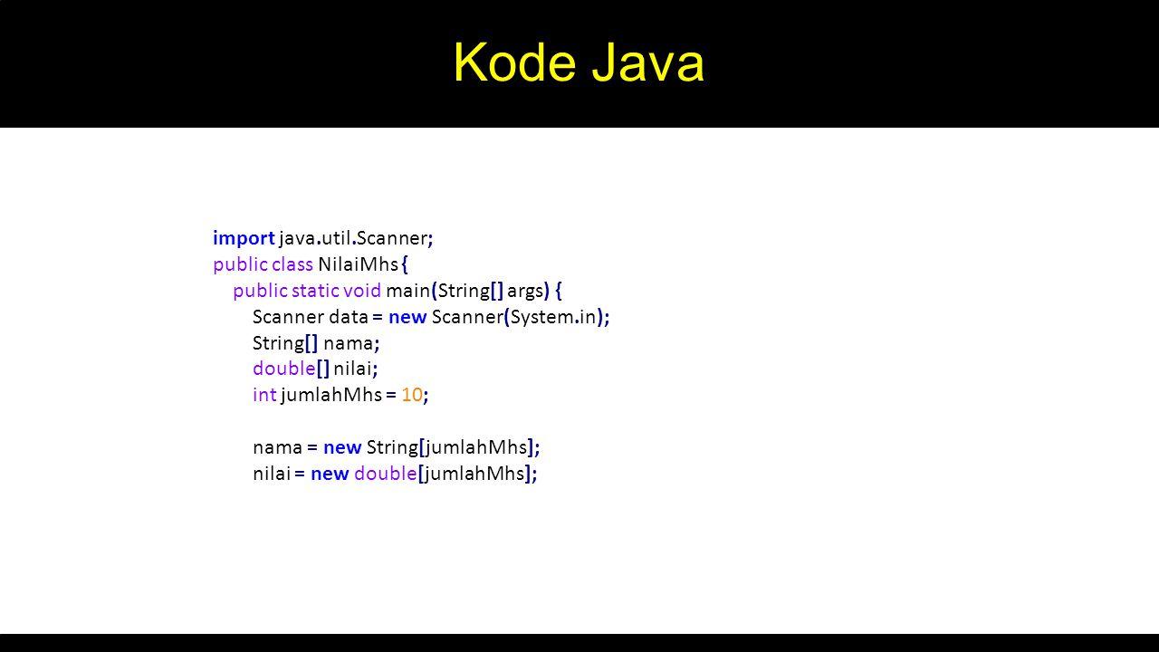 Kode Java import java.util.Scanner; public class NilaiMhs {