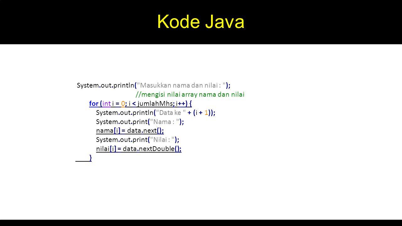 Kode Java System.out.println( Masukkan nama dan nilai : );