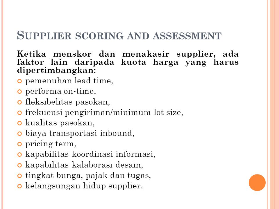 Supplier scoring and assessment