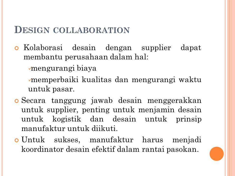 Design collaboration Kolaborasi desain dengan supplier dapat membantu perusahaan dalam hal: mengurangi biaya.
