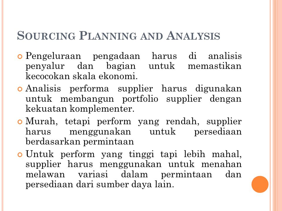 Sourcing Planning and Analysis