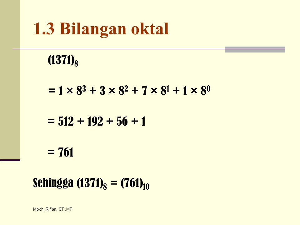 1.3 Bilangan oktal (1371)8 = 1 × 83 + 3 × 82 + 7 × 81 + 1 × 80