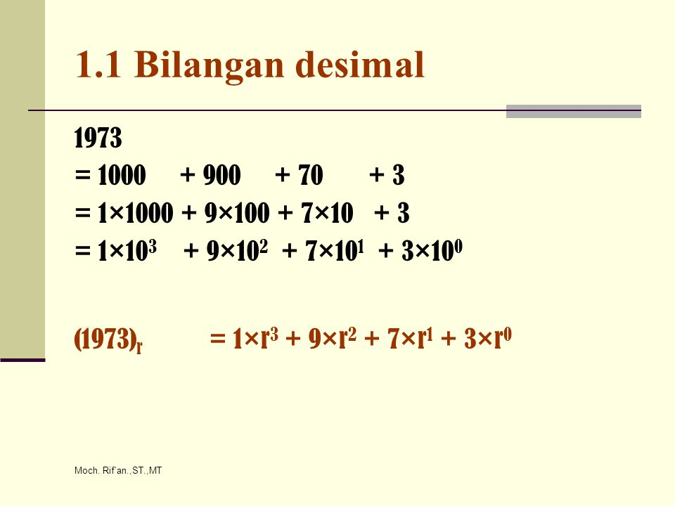 1.1 Bilangan desimal 1973. = 1000 + 900 + 70 + 3. = 1×1000 + 9×100 + 7×10 + 3. = 1×103 + 9×102 + 7×101 + 3×100.