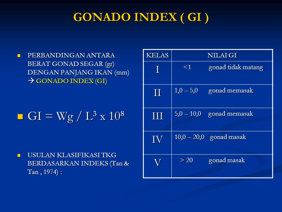 GONADO INDEX ( GI ) GI = Wg / L3 x 108 I II III IV V