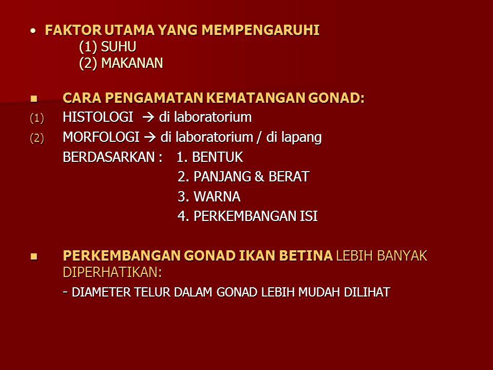 FAKTOR UTAMA YANG MEMPENGARUHI (1) SUHU (2) MAKANAN