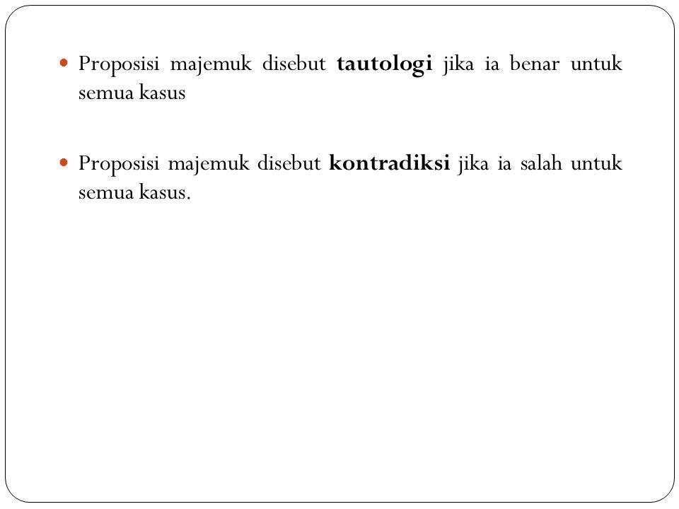 Proposisi majemuk disebut tautologi jika ia benar untuk semua kasus