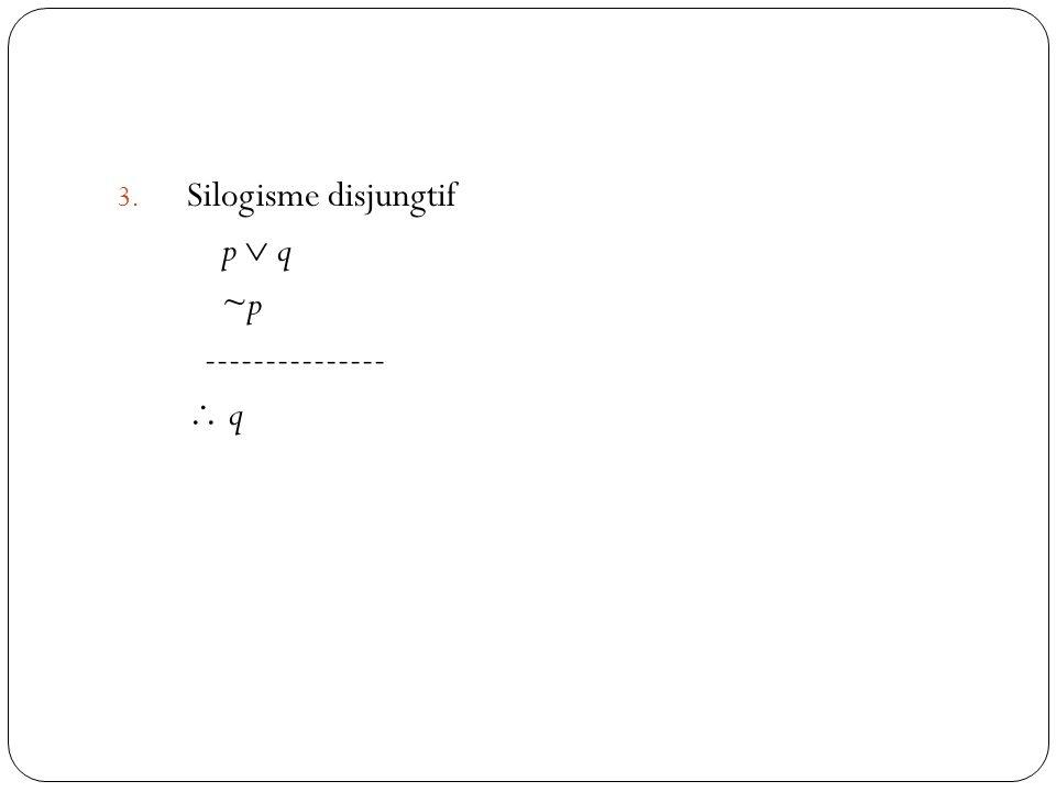 Silogisme disjungtif p  q ~p ---------------  q
