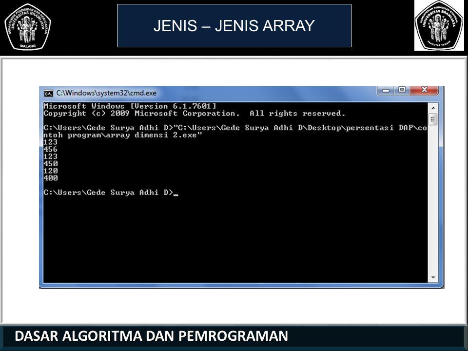 JENIS – JENIS ARRAY 1 1 2 DASAR ALGORITMA DAN PEMROGRAMAN 17