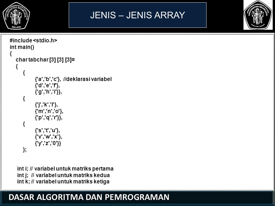 JENIS – JENIS ARRAY #include <stdio.h> int main() {