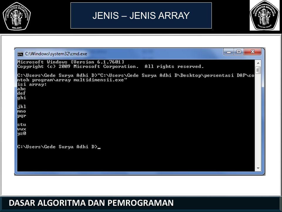 JENIS – JENIS ARRAY 1 1 2 DASAR ALGORITMA DAN PEMROGRAMAN 21