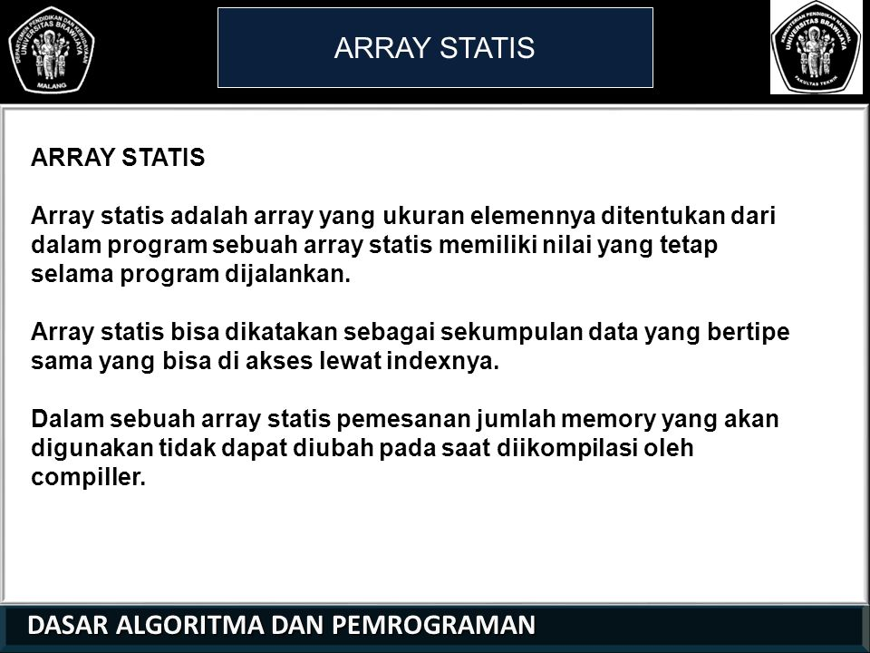 ARRAY STATIS ARRAY STATIS