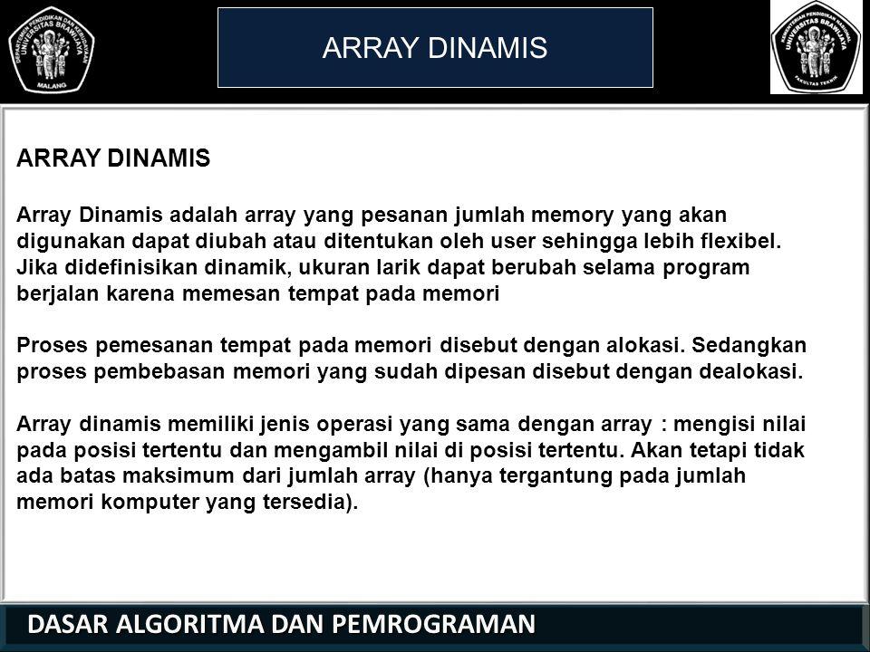 ARRAY DINAMIS ARRAY DINAMIS