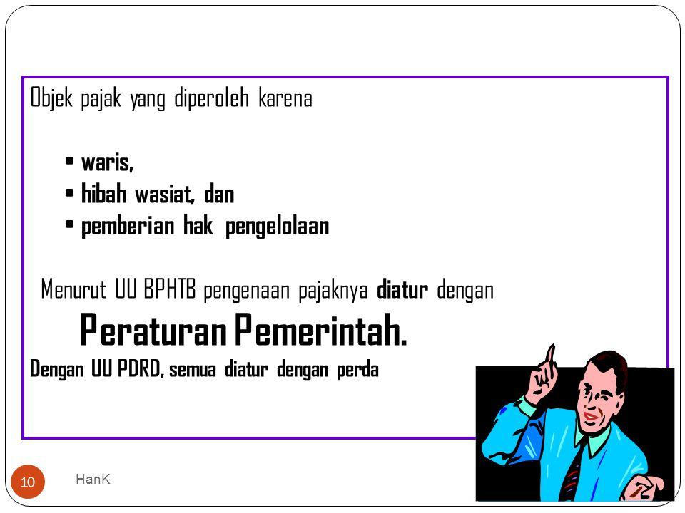 Peraturan Pemerintah. Objek pajak yang diperoleh karena waris,