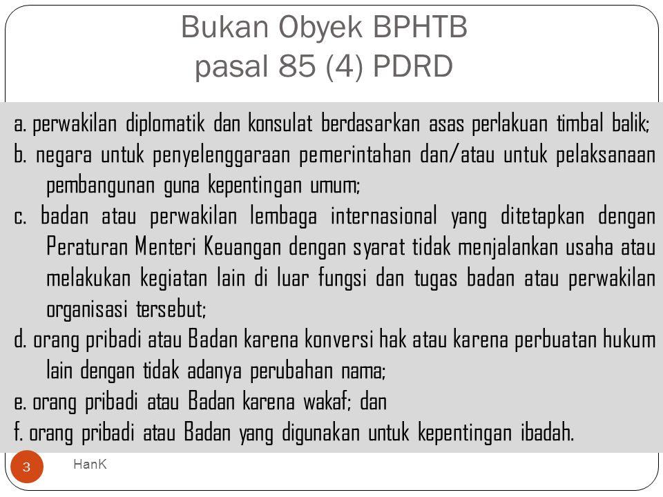 Bukan Obyek BPHTB pasal 85 (4) PDRD
