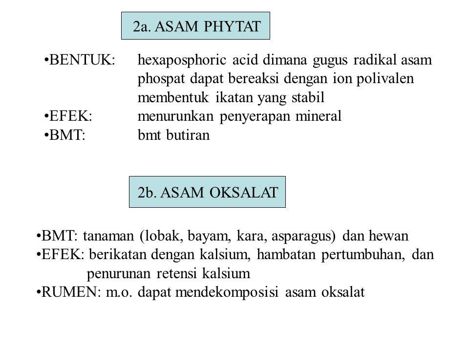 2a. ASAM PHYTAT BENTUK: hexaposphoric acid dimana gugus radikal asam. phospat dapat bereaksi dengan ion polivalen.