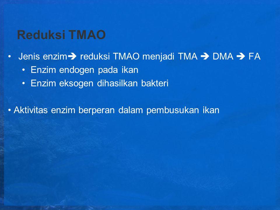 Reduksi TMAO Jenis enzim reduksi TMAO menjadi TMA  DMA  FA
