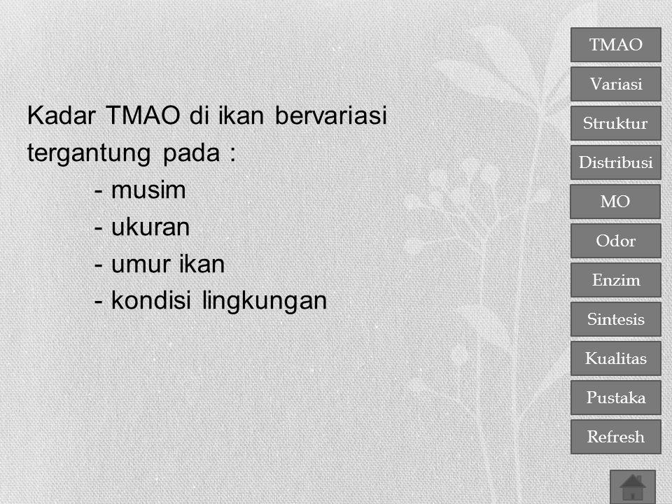 Kadar TMAO di ikan bervariasi tergantung pada : - musim - ukuran - umur ikan - kondisi lingkungan
