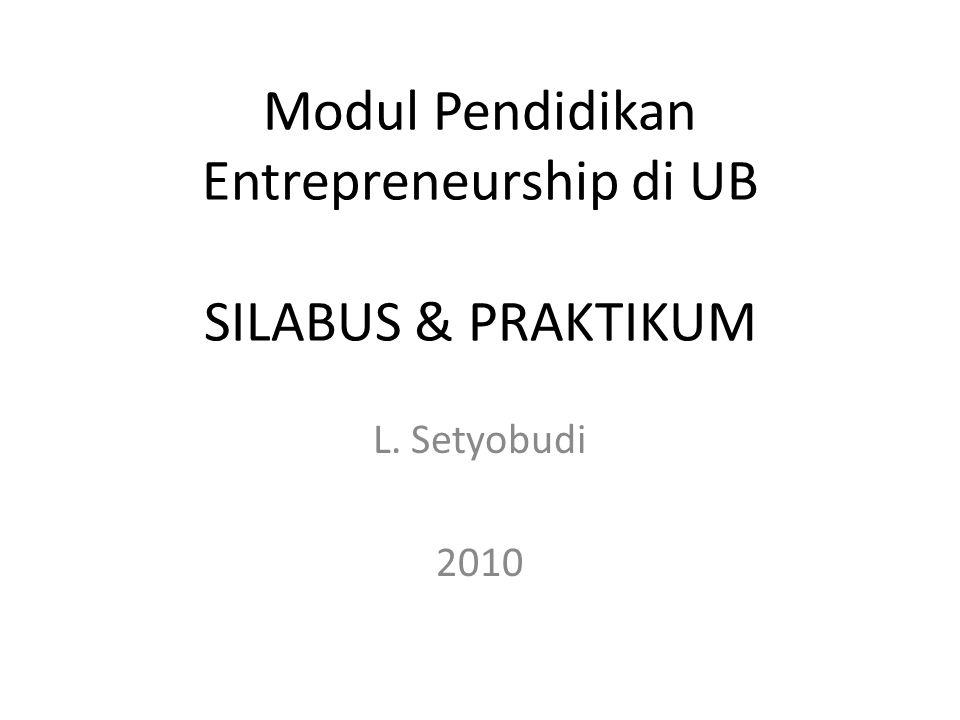 Modul Pendidikan Entrepreneurship di UB SILABUS & PRAKTIKUM
