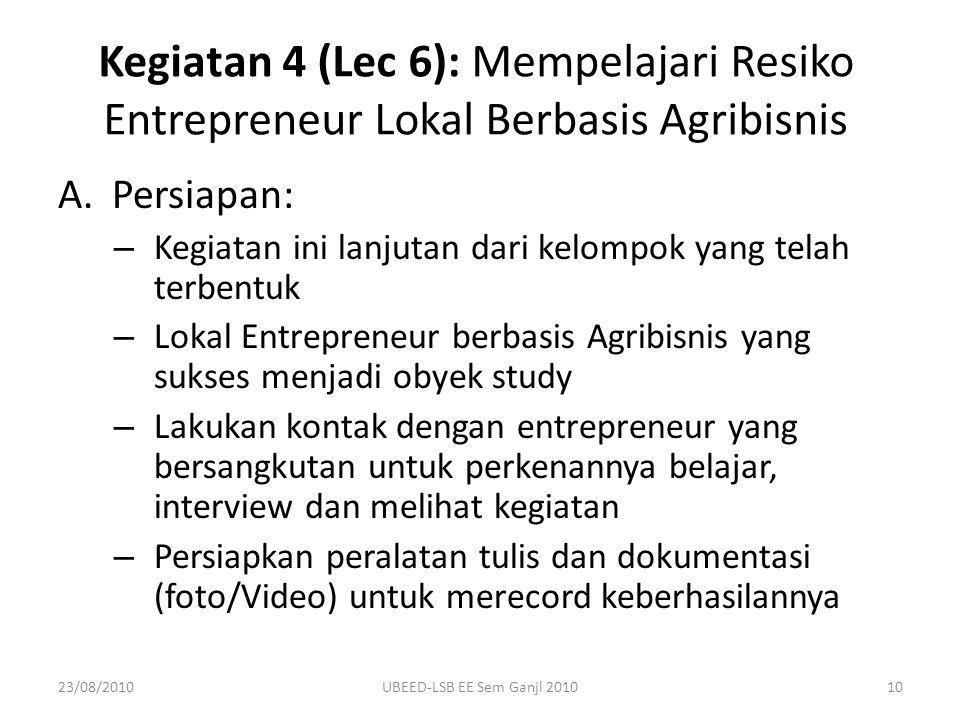 Kegiatan 4 (Lec 6): Mempelajari Resiko Entrepreneur Lokal Berbasis Agribisnis