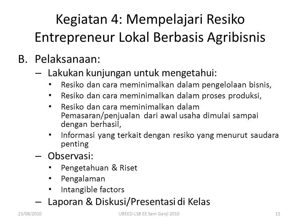 Kegiatan 4: Mempelajari Resiko Entrepreneur Lokal Berbasis Agribisnis