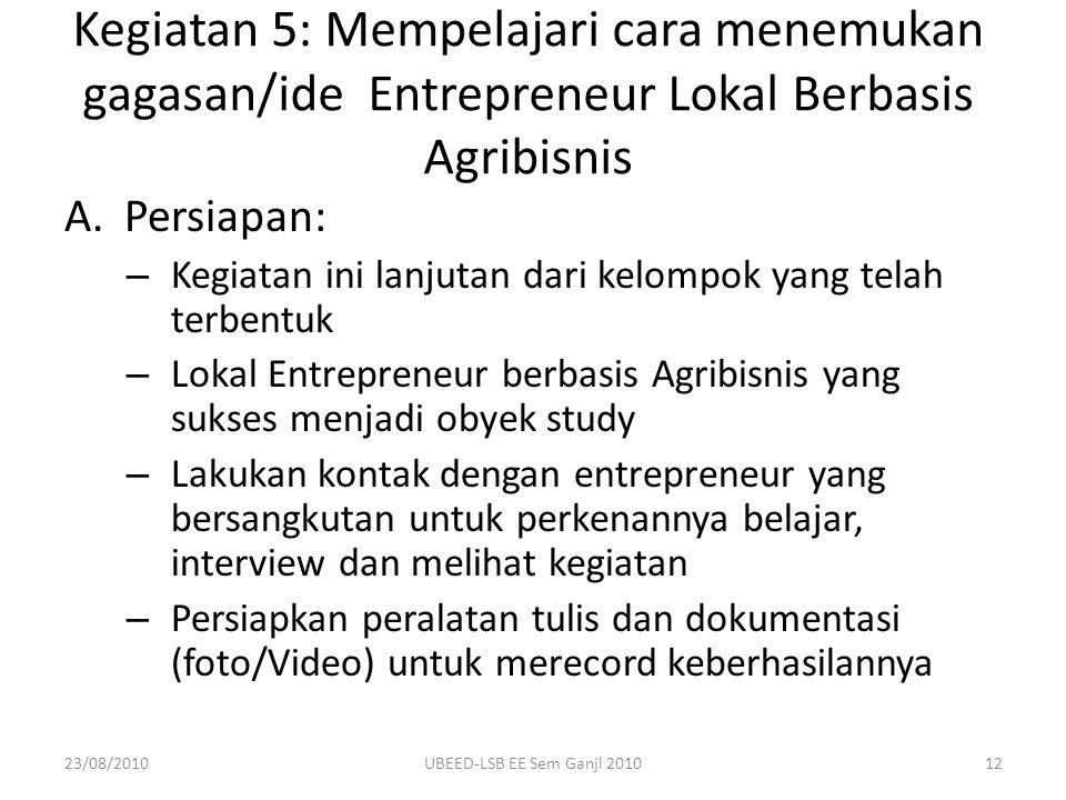 Kegiatan 5: Mempelajari cara menemukan gagasan/ide Entrepreneur Lokal Berbasis Agribisnis
