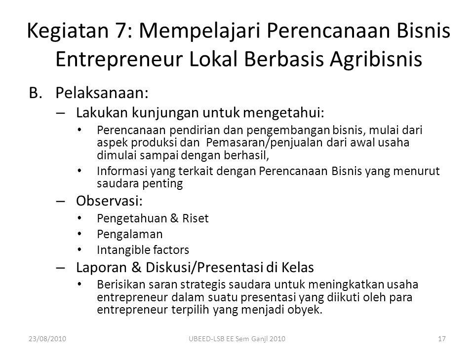 Kegiatan 7: Mempelajari Perencanaan Bisnis Entrepreneur Lokal Berbasis Agribisnis
