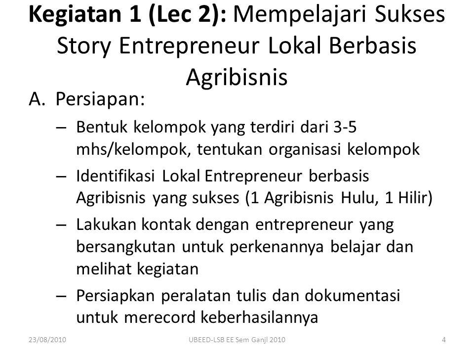 Kegiatan 1 (Lec 2): Mempelajari Sukses Story Entrepreneur Lokal Berbasis Agribisnis