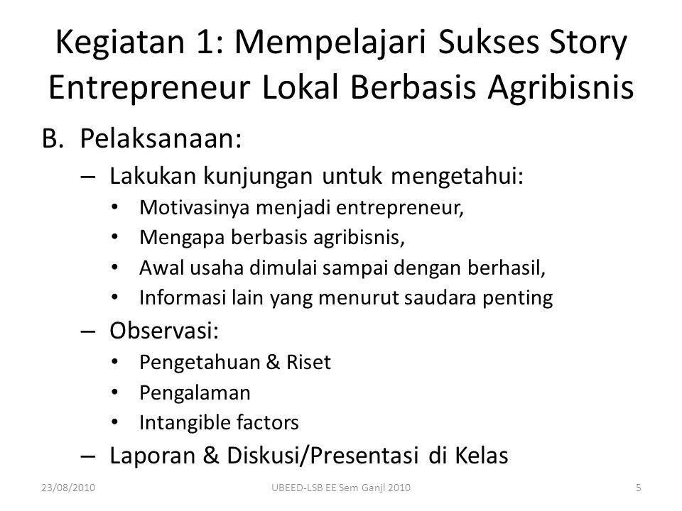 Kegiatan 1: Mempelajari Sukses Story Entrepreneur Lokal Berbasis Agribisnis