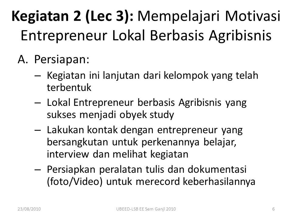 Kegiatan 2 (Lec 3): Mempelajari Motivasi Entrepreneur Lokal Berbasis Agribisnis