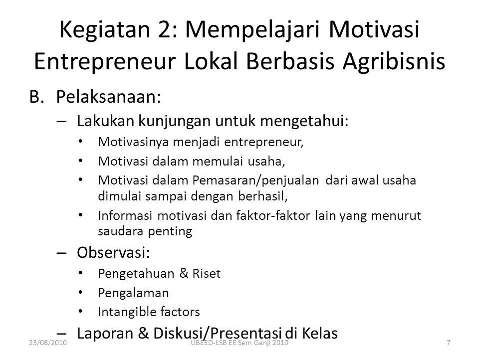 Kegiatan 2: Mempelajari Motivasi Entrepreneur Lokal Berbasis Agribisnis