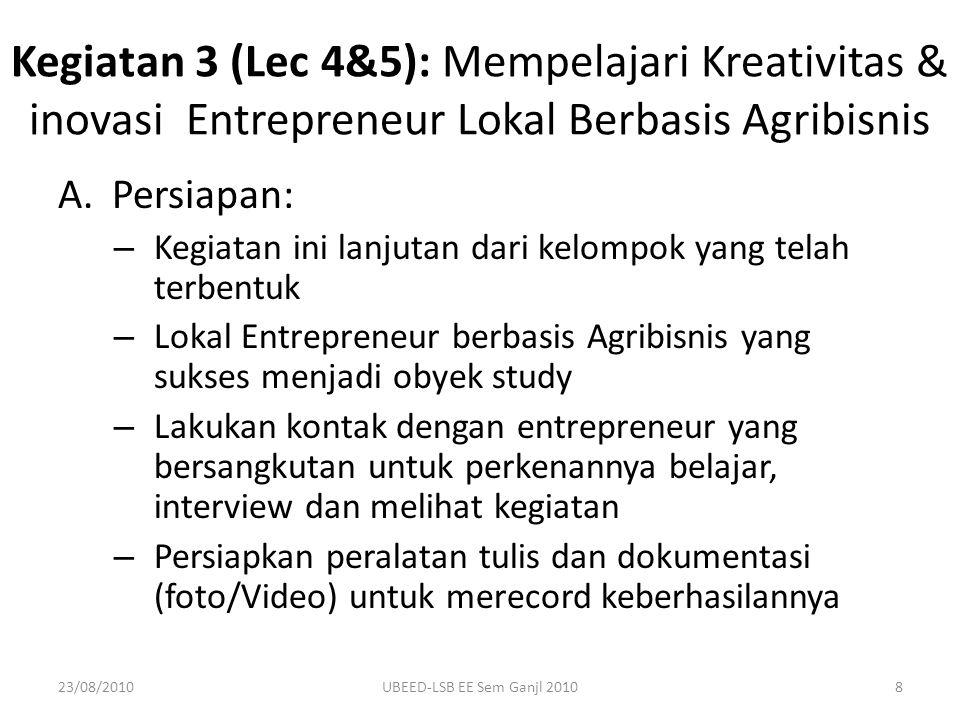 Kegiatan 3 (Lec 4&5): Mempelajari Kreativitas & inovasi Entrepreneur Lokal Berbasis Agribisnis
