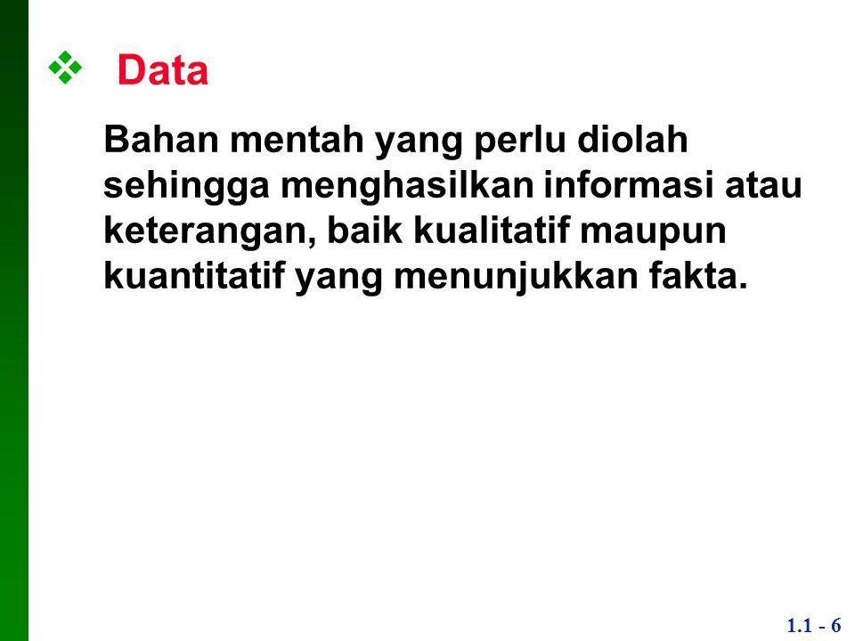 Data Bahan mentah yang perlu diolah sehingga menghasilkan informasi atau keterangan, baik kualitatif maupun kuantitatif yang menunjukkan fakta.