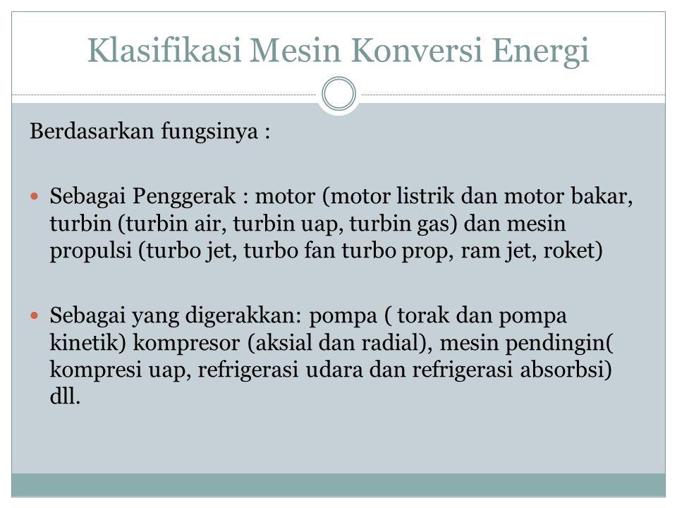 Klasifikasi Mesin Konversi Energi