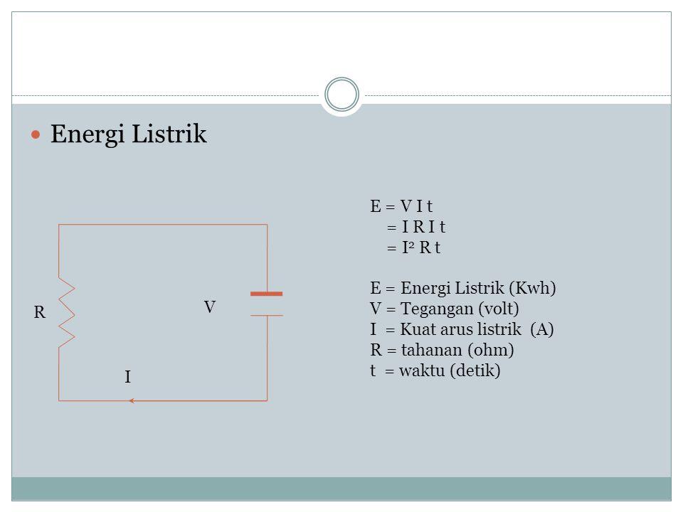 Energi Listrik E = V I t = I R I t = I2 R t E = Energi Listrik (Kwh)