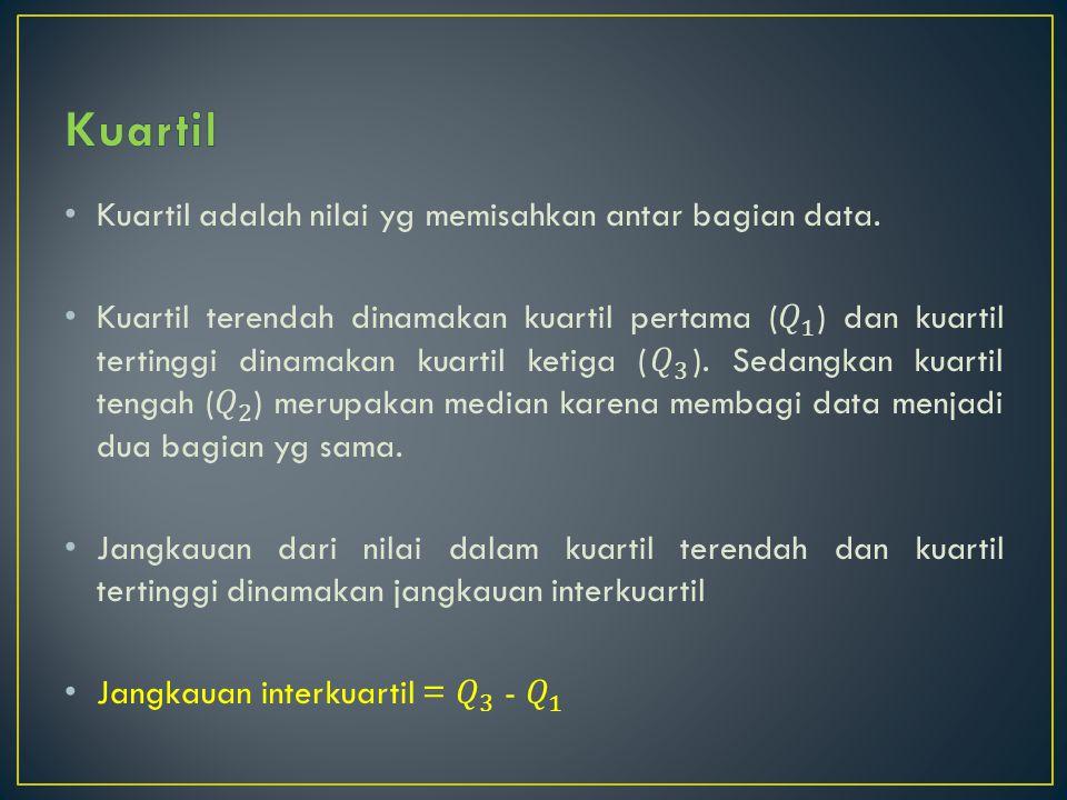 Kuartil Kuartil adalah nilai yg memisahkan antar bagian data.