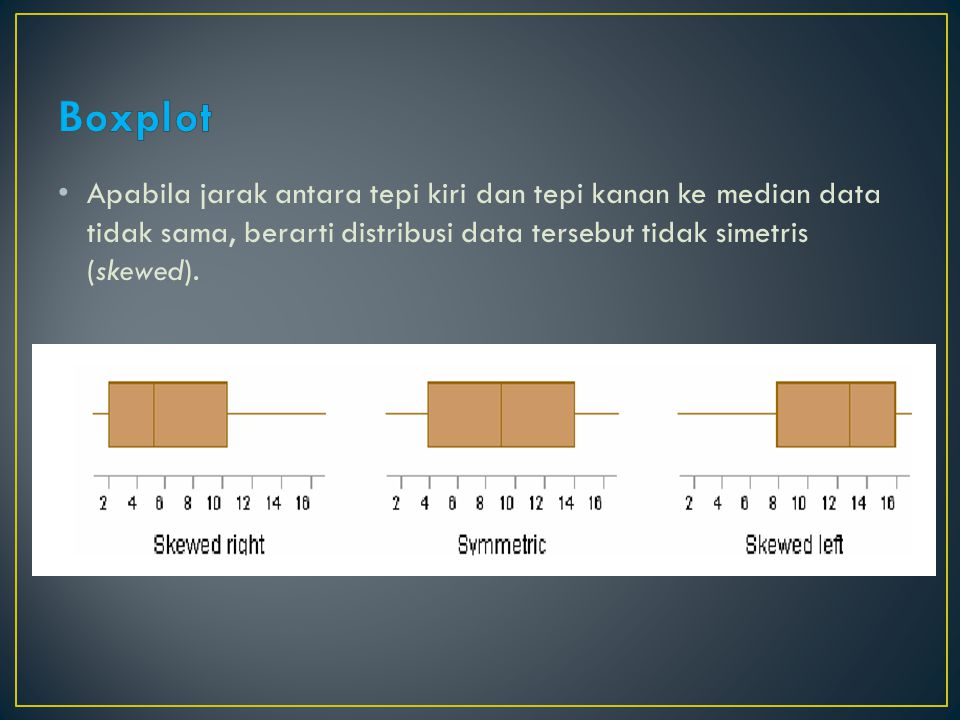 Boxplot Apabila jarak antara tepi kiri dan tepi kanan ke median data tidak sama, berarti distribusi data tersebut tidak simetris (skewed).