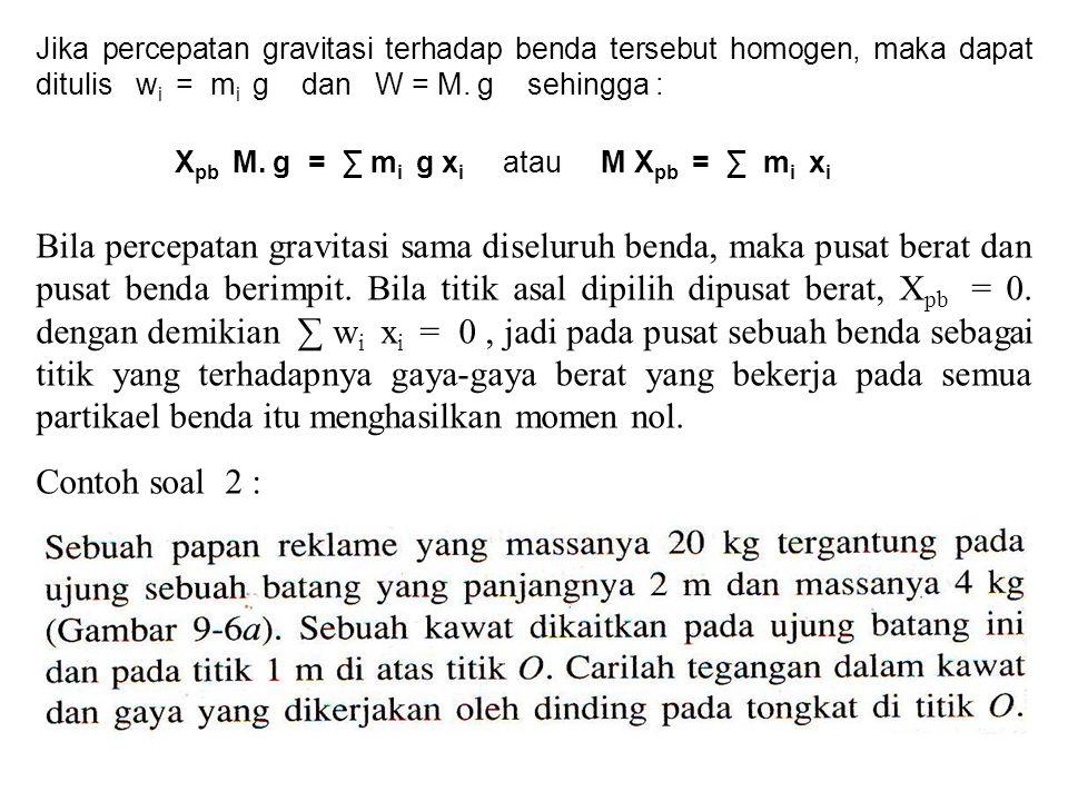 Jika percepatan gravitasi terhadap benda tersebut homogen, maka dapat ditulis wi = mi g dan W = M. g sehingga :